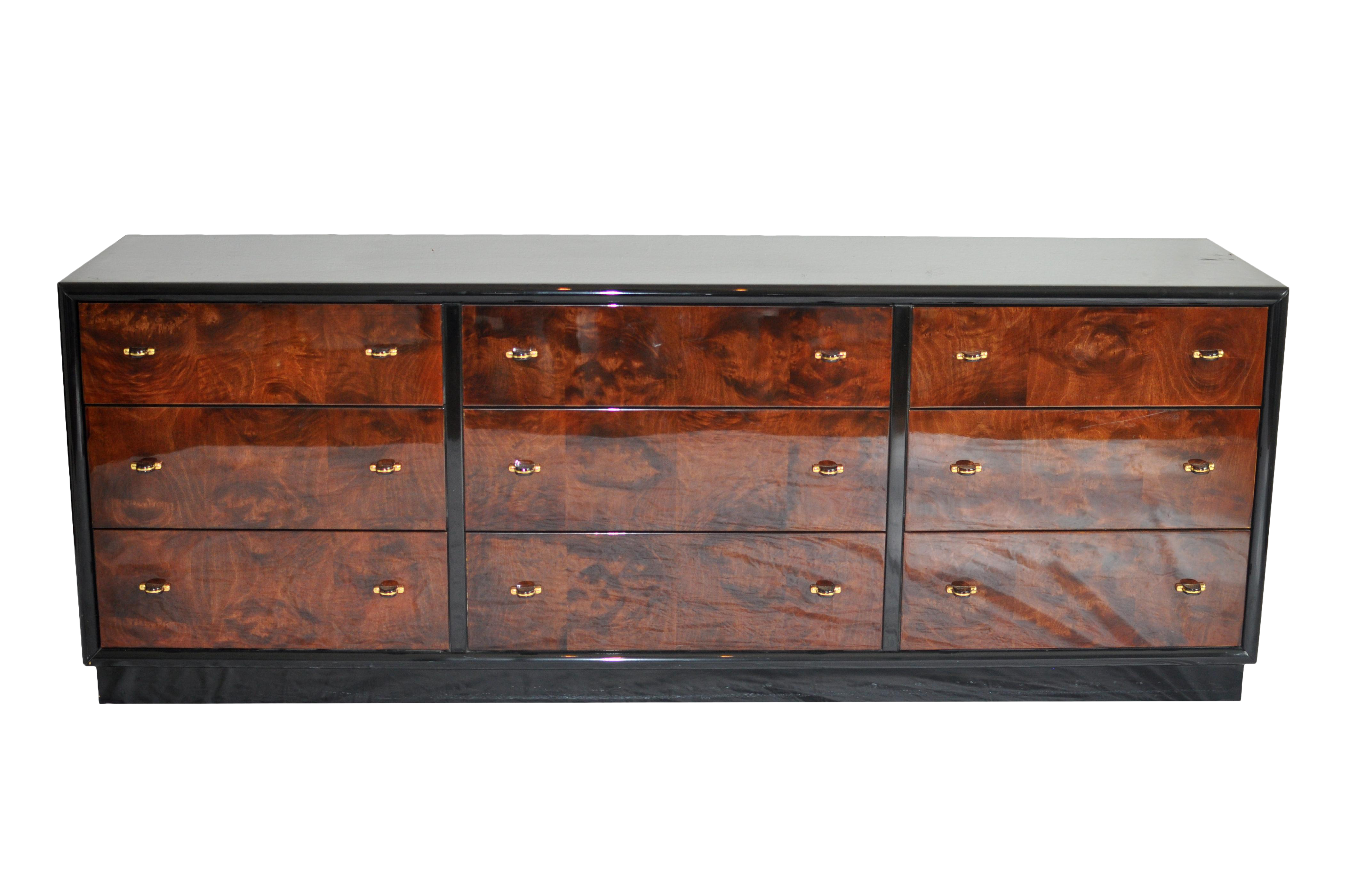 Charmant Henredon Black Lacquer U0026 Burled Wood 9 Drawer Chest Of Drawers