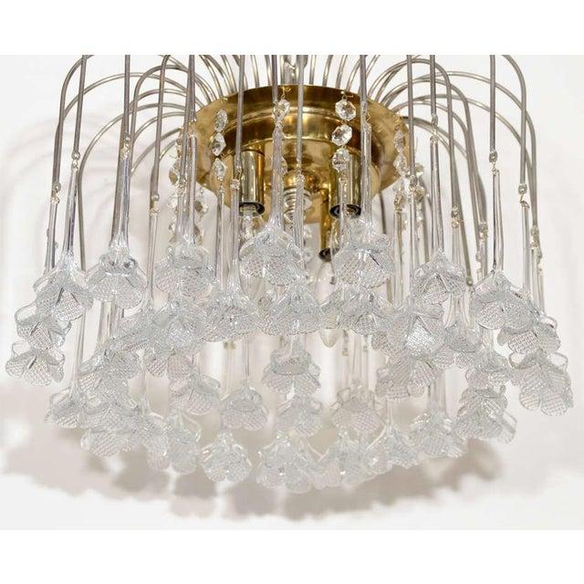 Mid Century Murano Two Tier Handblown Murano Glass Floral Pendant Chandelier - Image 3 of 8