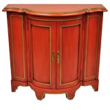 Image of Red Lacquer Medallion Ltd Demilune Chinoiserie Georgian Credenza For Sale