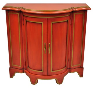 Red Lacquer Medallion Ltd Demilune Chinoiserie Georgian Credenza For Sale