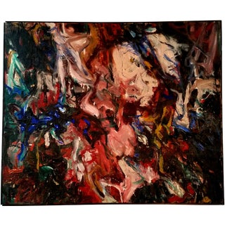 Mid Century Abstract Expressionist Painting by Guggenheim Artist For Sale