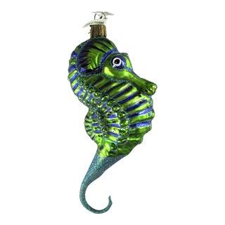 2002 Neiman Marcus Blown Glass Seahorse Christmas Ornament For Sale