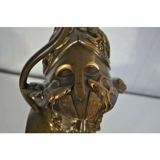 19th Century French Patinated Bronze Bust of Trojan War Greek General Ajax Table Lamp For Sale In Philadelphia - Image 6 of 10
