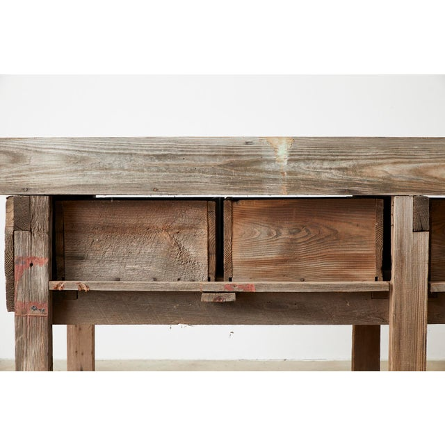 Rustic American Pine Three-Drawer Workbench Table For Sale - Image 12 of 13
