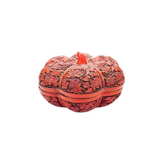 Vintage Cinnabar Tomato Shaped Box For Sale