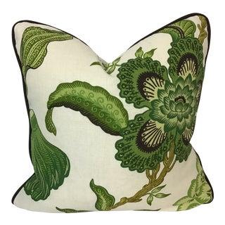 "English Schumacher 100% Linen Printed 18""x18"" Pillow For Sale"