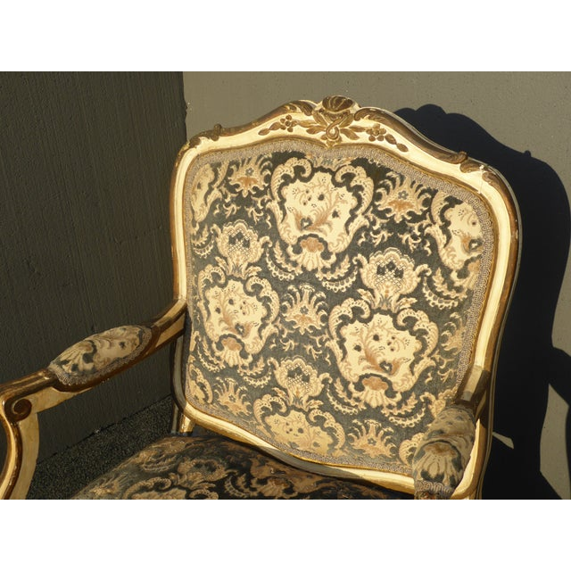 Textile French Provincial Arm Chair With Floral Velvet Upholstery For Sale - Image 7 of 11