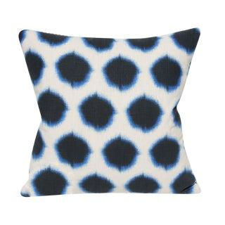 """Ikat Dot Indigo Decorative Pillow - 19x19"""" For Sale"""