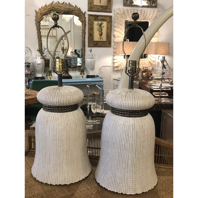 Vintage Chapman Hollywood Regency Chinoiserie Ceramic Tassel Table Lamps - A Pair For Sale In West Palm - Image 6 of 13