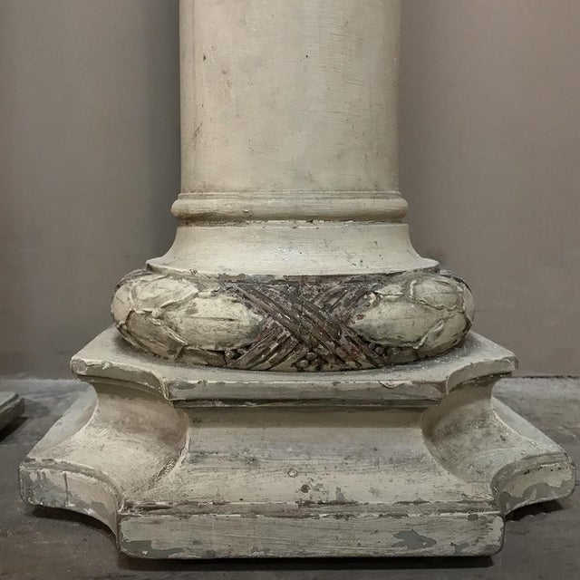 Wood Pair 19th Century French Louis XVI Painted Pedestals For Sale - Image 7 of 13