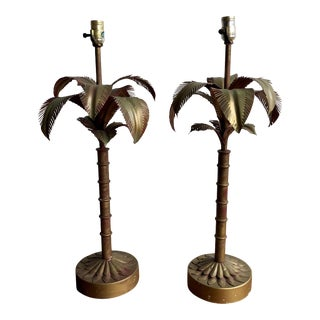 1960s Tyndale Tole Palm Tree Lamps - a Pair For Sale