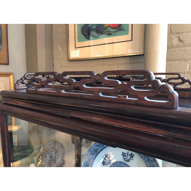 19th Century Chinese Rosewood Hand Carved 3 Shelf Curio Display Cabinet With Two Side Doors For Sale - Image 9 of 13