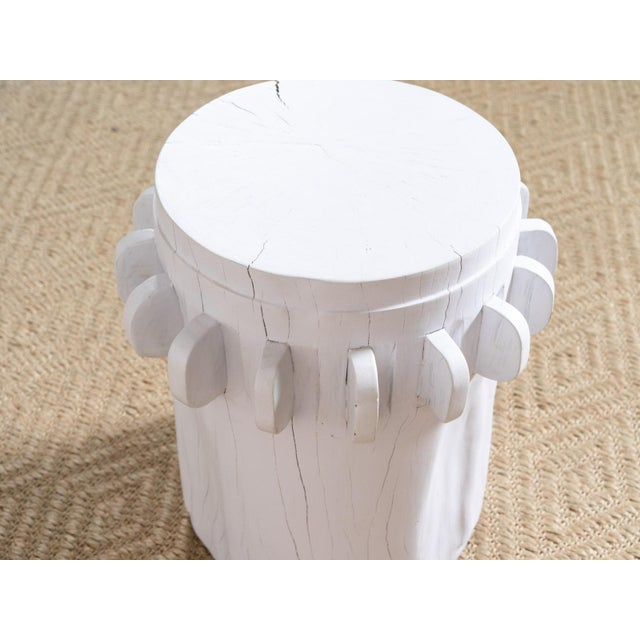 2010s White Grinder Wooden Side Table For Sale - Image 5 of 6