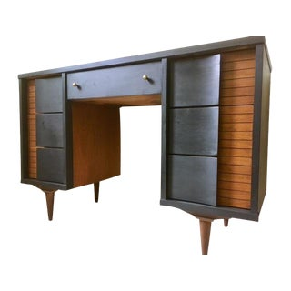 1960s Mid-Century Modern Black Wooden Writing Desk
