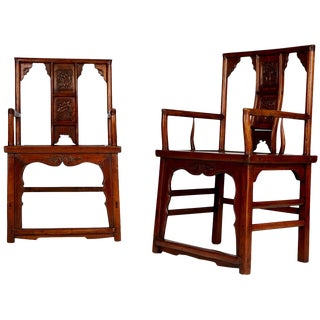 Pair of Chinese Carved Throne Armchairs For Sale