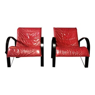 Pair of Red Leather and Black Lacquered Lounge Chairs, 1970s