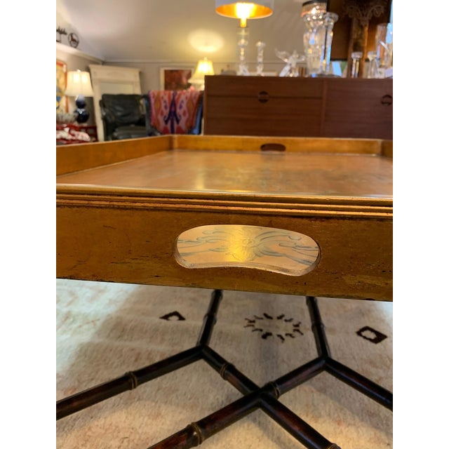 Wood Hollywood Regency Glam Tray Top Gilded Coffee Table For Sale - Image 7 of 13