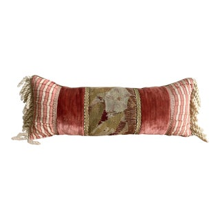 Vintage Velvet and Silk Bolster Pillow With Antique Abusson Tapestry Panel and Silk Corded Tassels For Sale