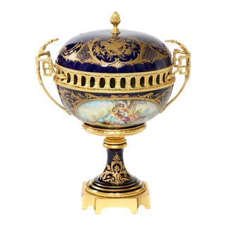 Sevres Porcelain Dore Bronze Mounted Covered Centerpiece For Sale