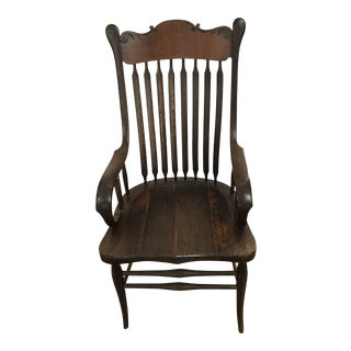 Antique Library Carved Wood Chair For Sale