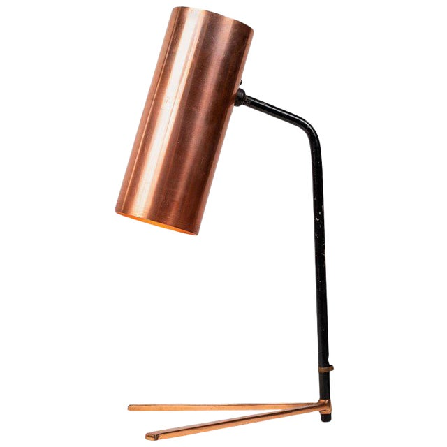 1950s Stilux Copper and Metal Table Lamp For Sale