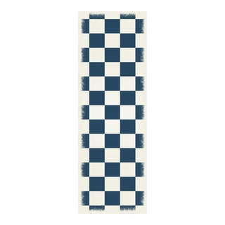 Blue & White English Checkered Rug - 2' X 6'