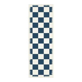 Blue & White English Checkered Rug - 2' X 6'