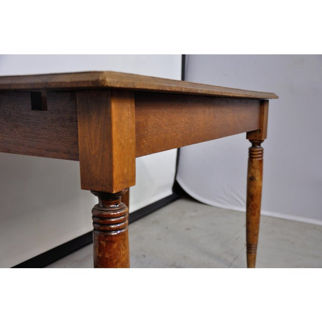 Brown Vintage French Oak Farmhouse Dining Table For Sale - Image 8 of 12