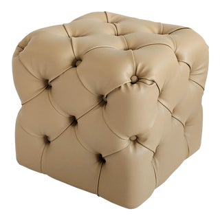 Modern Teuco Italian Leather Tufted Pouf For Sale