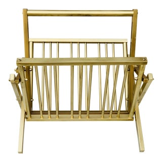 1970s Mid Century Modern Collapsible Brass Magazine Rack For Sale