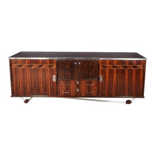 1940s French Modern Macassar Ebony Credenza With Nickeled Bronze Mounts For Sale