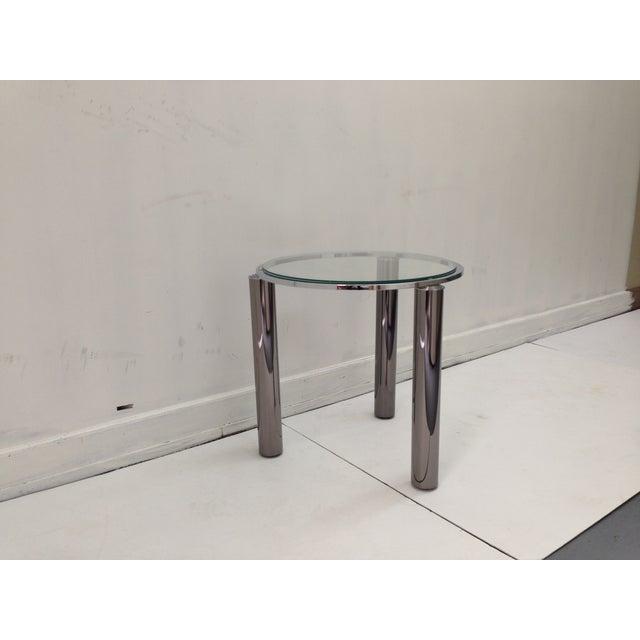 Karl Springer Style Chrome End Table - Image 2 of 6