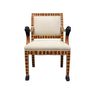 Vintage Mid Century Hand Painted Faux Wood Arm Chair For Sale