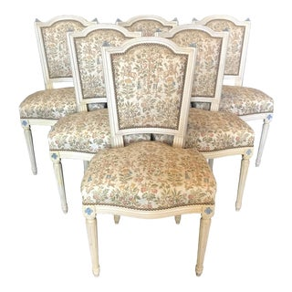 Louis XVI Dining Chairs With Exquisite Tapestry-Set of 6 For Sale
