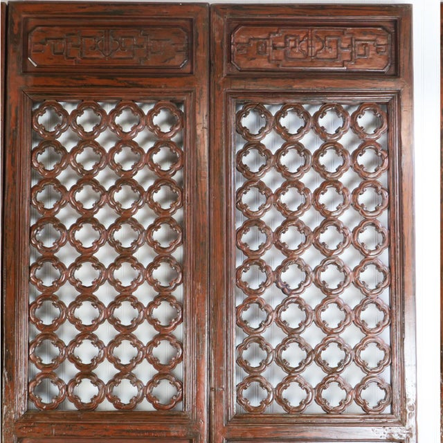 Asian Early 20th Century Antique Chinese Carved Courtyard Doors For Sale - Image 3 of 13