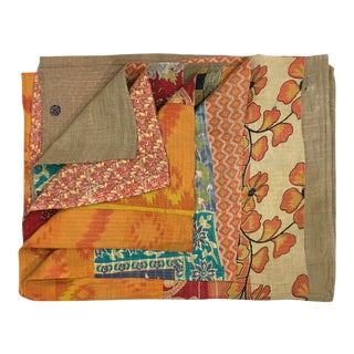 Warm Tone Botanicals Vintage Kantha Quilt