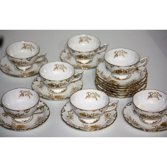 """This dinner service for twelve is the beautiful """"Marquis"""" pattern # A1222. All pieces are white with lovely gold..."""