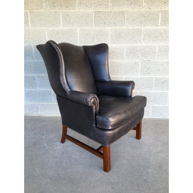 Pottery Barn Thatcher Leather Wing Back Arm Chair For Sale - Image 12 of 12