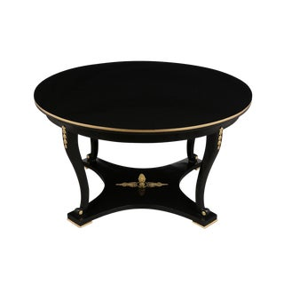 Hollywod Regency Style Lacquered Round Center Table For Sale