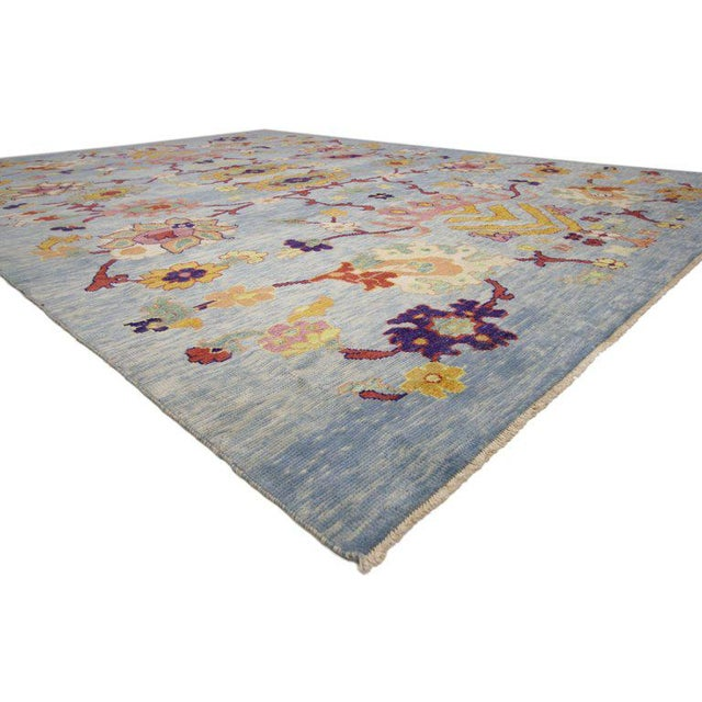 """Boho Chic Turkish Oushak Modern Style Floral Blue Area Rug - 10'7"""" X 14'8"""" For Sale - Image 3 of 5"""