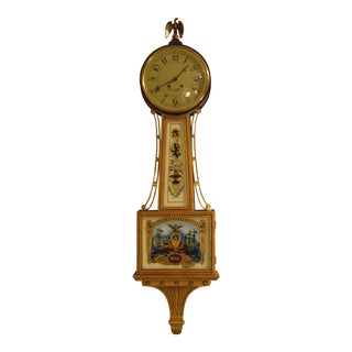 Colonial Aaron Willard Mahogany Banjo Wall Clock For Sale
