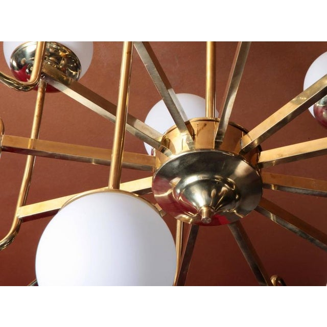 Exceptional Huge Brass Chandelier with Glass Globes in the Manner of Stilnovo For Sale - Image 4 of 5