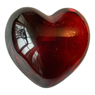1990s Baccarat Crystal Heart Paperweight For Sale