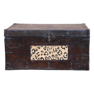 Chinese Vintage Leather Iron Hardware Trunk For Sale