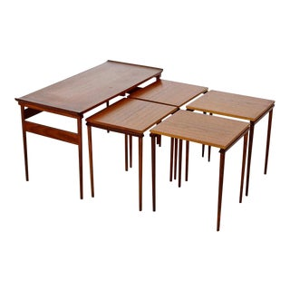 1950s Dansk Mid-Century Modern Teak Nesting Coffee Side Tables - Set of 5 For Sale