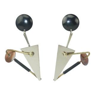 Memphis Style Atomic Geometric Earrings, 1980's For Sale