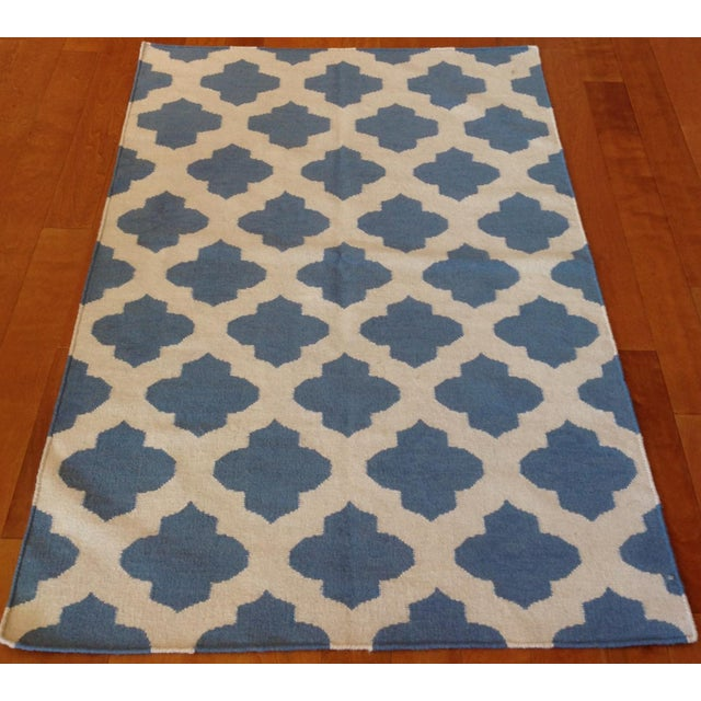 Reversible Blue Trellis Design Kilim All wool. Hand-knotted in India.
