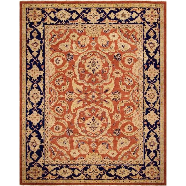 "Blue Kafkaz Peshawar Risa Orange Blue Wool Rug - 9'2"" x 11'10"" For Sale - Image 8 of 8"