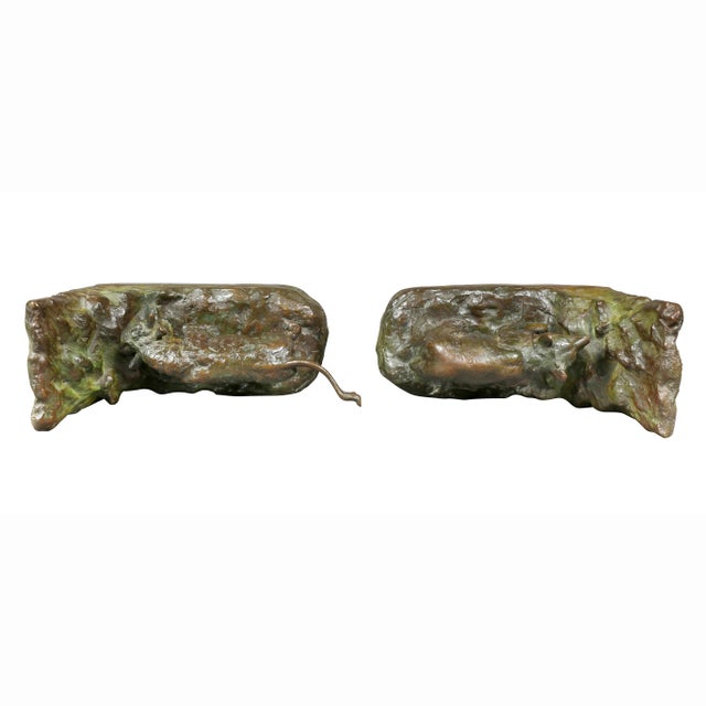 Green Bronze Animalier Bookends Retailed by Theodore B Starr Inc. - a Pair For Sale - Image 8 of 12