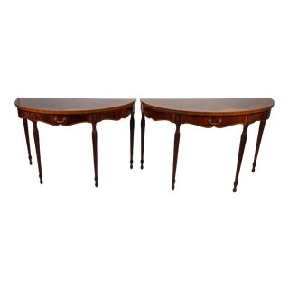 English Adam Style Demilune Console Tables by Maitland Smith - A Pair For Sale